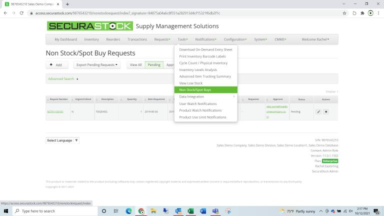 Nonstock/Spot Buy Requests