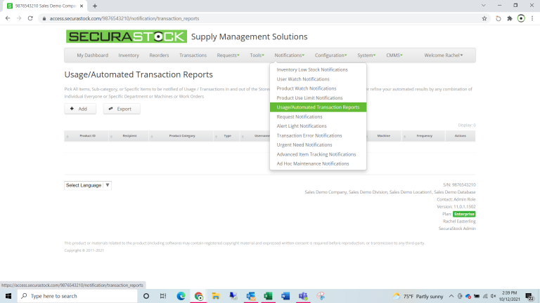 Usage/Automated Transaction Reports